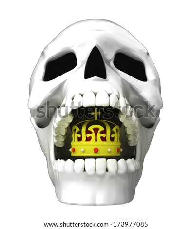 isolated human skull head with royal crown in jaws illustration - stock photo