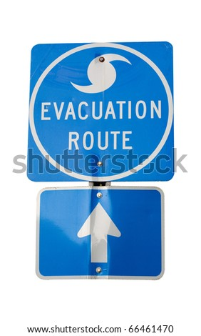 Isolated hurricane evacuation route sign.  Clipping path included. - stock photo