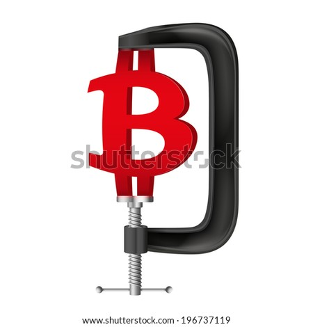 Isolated illustration of a currency symbol bitcoin being squeezed in a vice. - stock photo