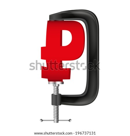 Isolated illustration of a currency symbol ruble being squeezed in a vice. - stock photo