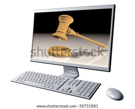 Isolated illustration of a desktop computer representing Internet auctions - stock photo