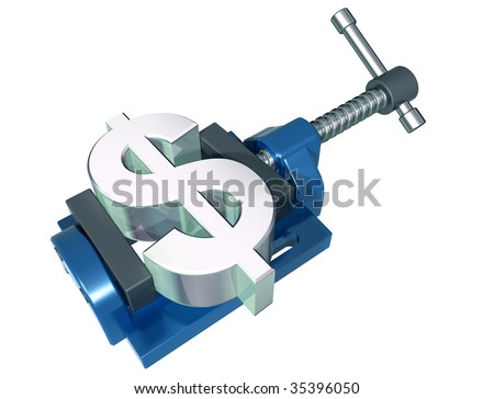 Isolated illustration of a dollar symbol being squeezed in a vice - stock photo