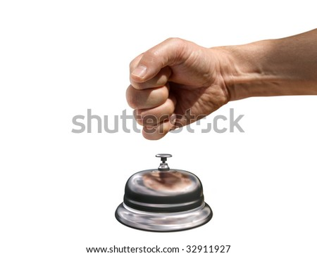 Isolated illustration of a fist banging a reception bell for attention - stock photo