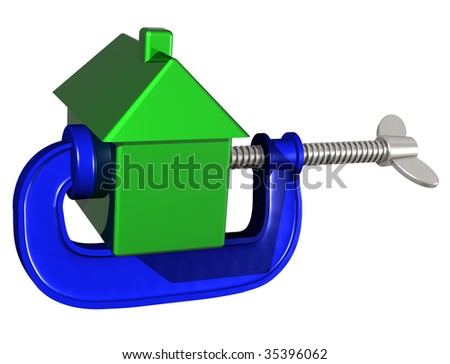 Isolated illustration of a house being squeezed in a g clamp - stock photo