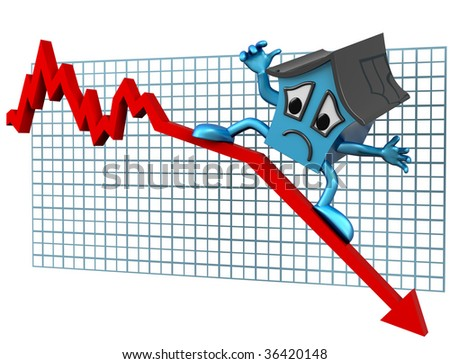 Isolated illustration of a house surfing downwards on a declining graph - stock photo