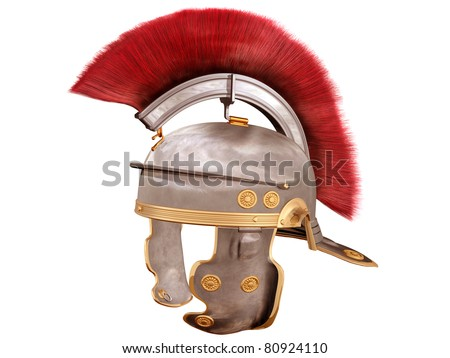 Isolated illustration of a Roman Helmet with a scarlet plume - stock photo