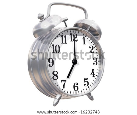 Isolated illustration of a shiny alarm clock