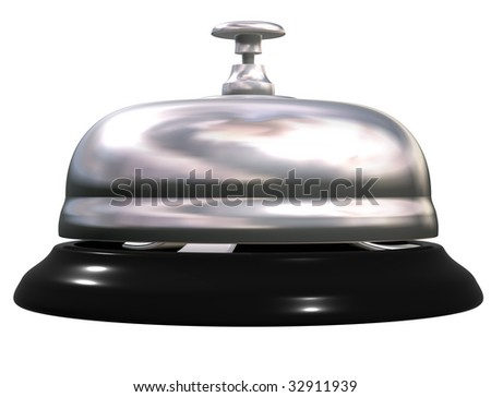 Isolated illustration of a silver and black reception bell - stock photo