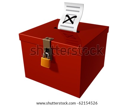 Isolated illustration of a stylized ballot box - stock photo