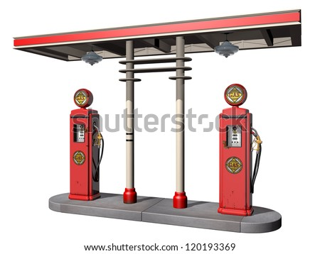 Isolated illustration of a weathered vintage gas pumps - stock photo