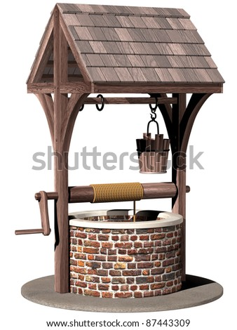 Isolated illustration of an ancient and magical wishing well - stock photo