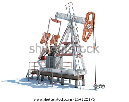 Isolated illustration of an oil rig with shadow - stock photo