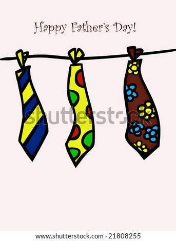 Isolated Illustration of colorful ties for father's day. - stock photo
