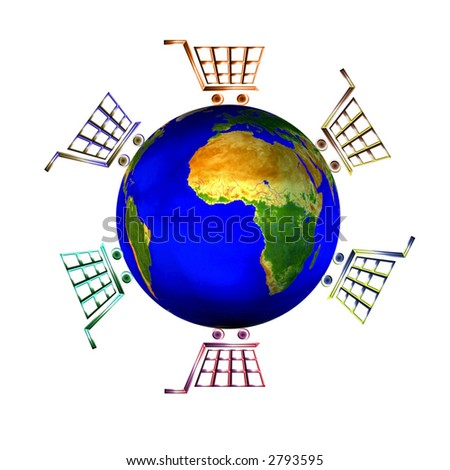 Isolated  illustration of logo icon with bright shopping carts around world globe as shopping concept . - stock photo