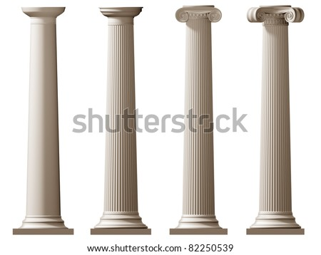 Isolated illustration of Roman Doric and Ionic columns - stock photo