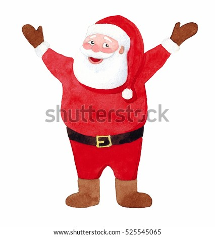 Isolated illustration watercolor of Santa Claus. Santa Claus of a hands up. Joyful Santa. Santa welcomes. Merry Christmas