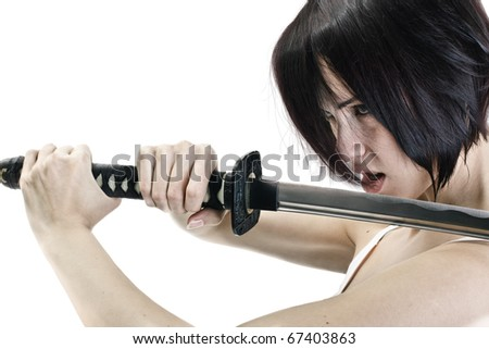 Isolated image. Anime stylized brunette with short hair & a stern look holding a katana sword with two hands. - stock photo
