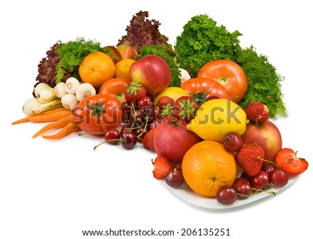 Isolated image many vegetables and fruits on white background
