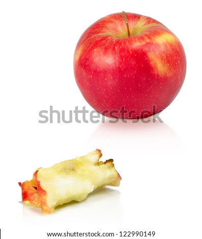Isolated image of a apple and apple cores on a white background - stock photo