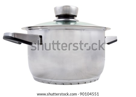 Isolated image of a closed pan against a white background. - stock photo