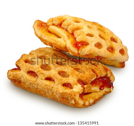 Isolated image of a cookies with a filling on a white background