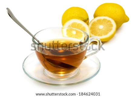 isolated image of a cup of tea and lemons