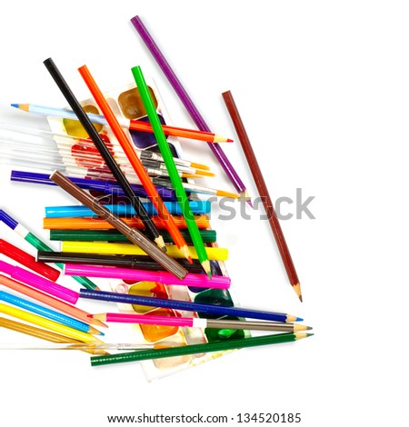 Isolated image of a felt pen pencils and paints on a white background - stock photo