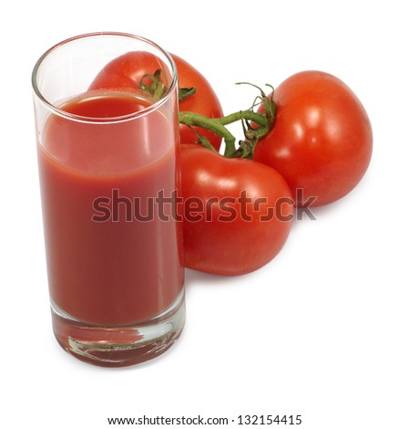 Isolated image of a glass of tomato juice and tomatoes on white background - stock photo