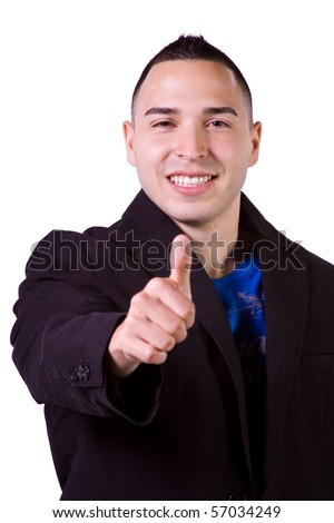 Isolated Image of a Handsome Hispanic Businessman Giving Thumbs Up - White Background - stock photo
