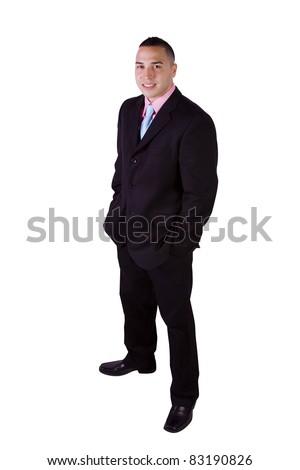 Isolated Image of a Handsome Hispanic Businessman - White Background - stock photo