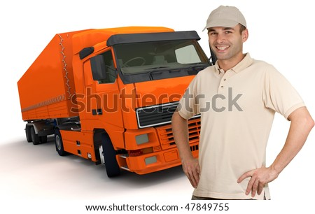 Isolated image of a man in front of an orange trailer truck - stock photo