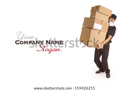 Isolated image of a messenger delivering a lot of boxes with a block and pen in his mouth  - stock photo