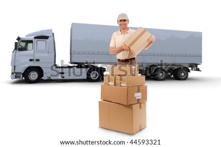 Isolated image of a messenger delivering a lot of boxes with a trailer truck in the background - stock photo