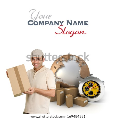 Isolated image of a messenger delivering a parcel with a world map, packages and a chronometer as a background  - stock photo