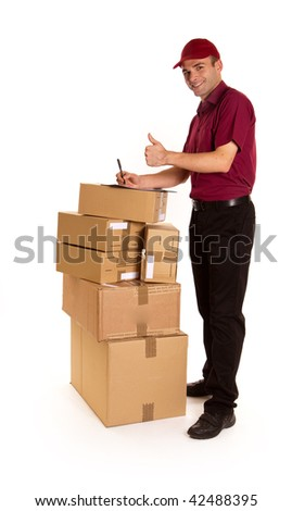 Isolated image of a messenger with clipboard and ball pen surrounded by packages - stock photo