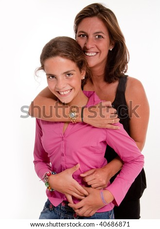 Isolated image of a mother and daughter in a happy embrace