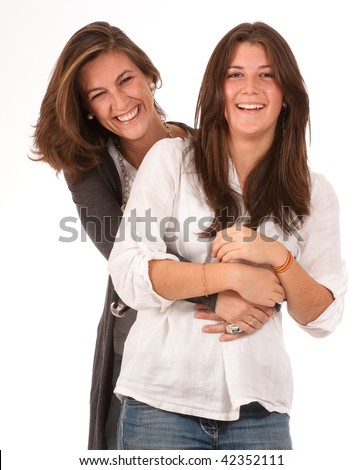 Isolated image of a mother and daughter in laughing together - stock photo