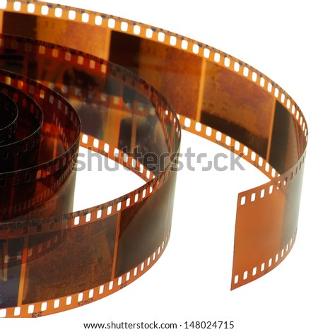 Isolated image of a photographic film on a white background