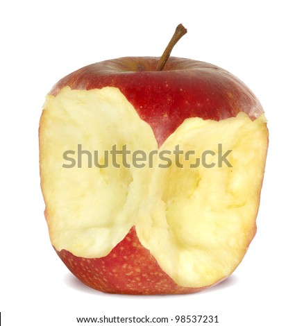 Isolated image of a red apple on a white background - stock photo