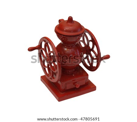 Isolated image of a red toy coffee grinder