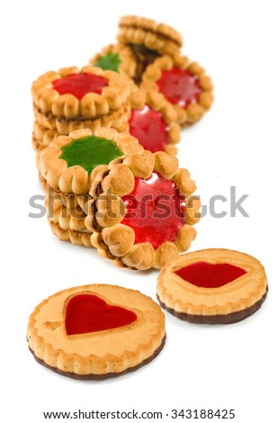 Isolated image of a tasty cookies close-up - stock photo