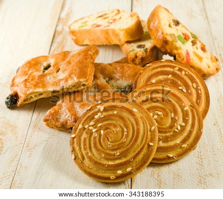 Isolated image of a tasty cookies on the table close-up - stock photo