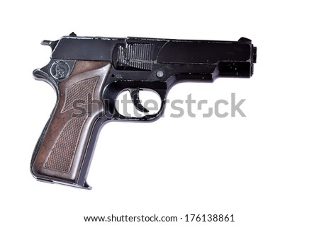 Isolated image of a used fake firearm