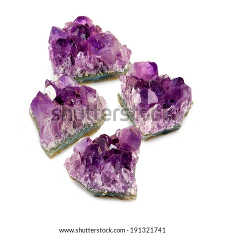 isolated image of amethyst stones on white background - stock photo