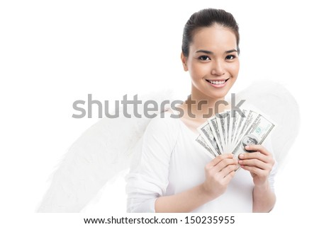 Isolated image of an angel with her hands full of money - stock photo