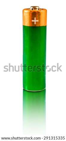 Isolated image of  batteries closeup - stock photo