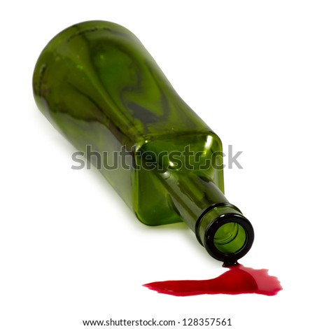 Isolated image of bottle and spilled wine - stock photo