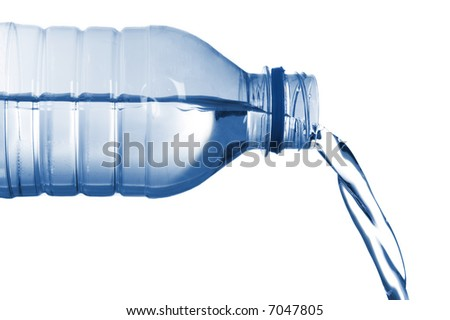 isolated image of  bottled water flowing - stock photo