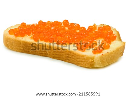 Isolated image of bread with red caviar