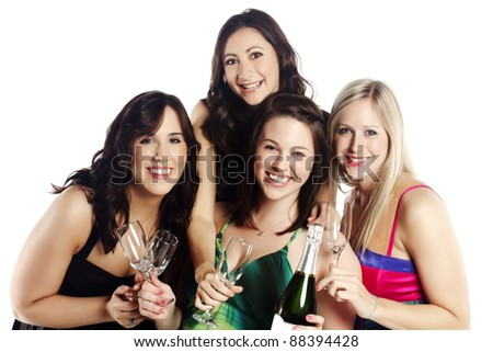 Isolated image of cheerful young females - Isolated indoors - stock photo